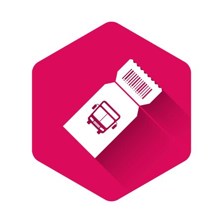 White Bus ticket icon isolated with long shadow. Public transport ticket. Pink hexagon button. Vector Illustration