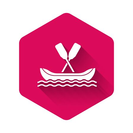 White Rafting boat icon isolated with long shadow. Kayak with paddles. Water sports, extreme sports, holiday, vacation, team building. Pink hexagon button. Vector Illustration