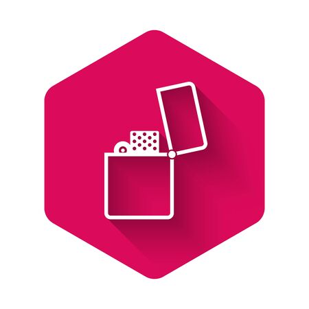 White Lighter icon isolated with long shadow. Pink hexagon button. Vector Illustration Foto de archivo - 134367882