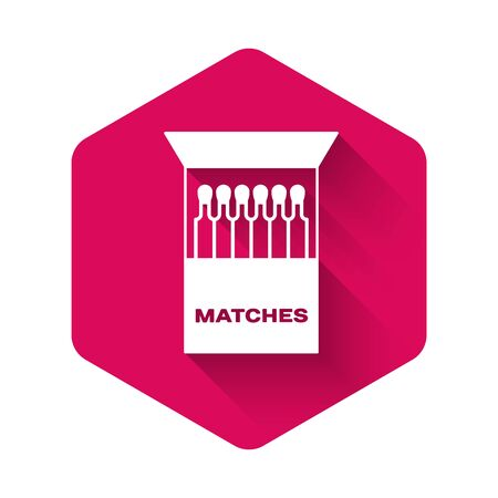 White Open matchbox and matches icon isolated with long shadow. Pink hexagon button. Vector Illustration Illusztráció