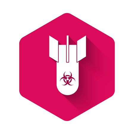 White Biohazard bomb icon isolated with long shadow. Rocket bomb flies down. Pink hexagon button. Vector Illustration