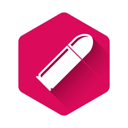White Bullet icon isolated with long shadow. Pink hexagon button. Vector Illustration Illustration
