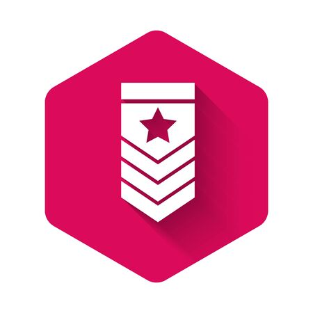 White Chevron icon isolated with long shadow. Military badge sign. Pink hexagon button. Vector Illustration