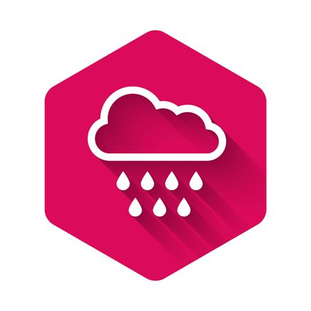 White Cloud with rain icon isolated with long shadow. Rain cloud precipitation with rain drops. Pink hexagon button. Vector Illustration