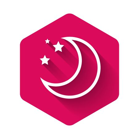 White Moon and stars icon isolated with long shadow. Pink hexagon button. Vector Illustration