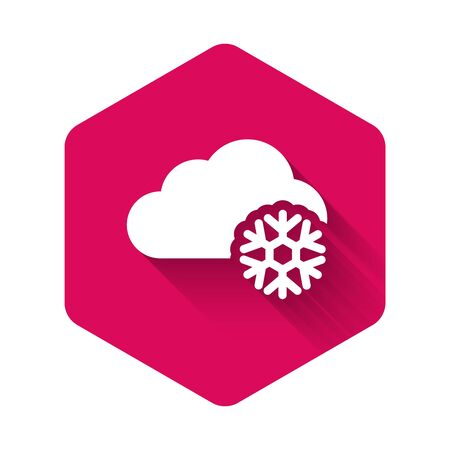 White Cloud with snow icon isolated with long shadow. Cloud with snowflakes. Single weather icon. Snowing sign. Pink hexagon button. Vector Illustration