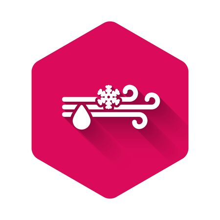 White Wind and rain with snow icon isolated with long shadow. Windy weather. Pink hexagon button. Vector Illustration