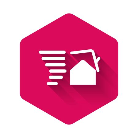 White Tornado swirl damages house roof icon isolated with long shadow. Cyclone, whirlwind, storm funnel, hurricane wind icon. Pink hexagon button. Vector Illustration