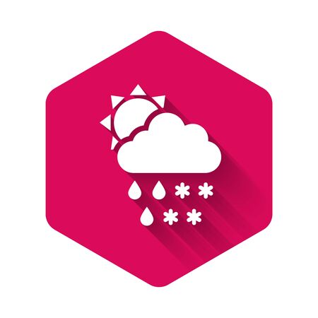White Cloud with snow and rain icon isolated with long shadow. Weather icon. Pink hexagon button. Vector Illustration