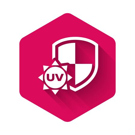 White UV protection icon isolated with long shadow. Sun and shield. Ultra violet rays radiation. SPF sun sign. Pink hexagon button. Vector Illustration