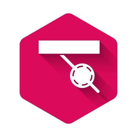 White Pirate eye patch icon isolated with long shadow. Pirate accessory. Pink hexagon button. Vector Illustration Çizim