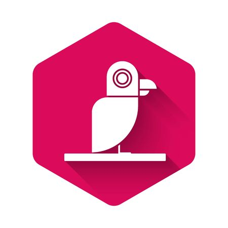 White Pirate parrot icon isolated with long shadow. Pink hexagon button. Vector Illustration Illustration