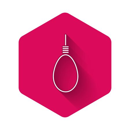 White Gallows rope loop hanging icon isolated with long shadow. Rope tied into noose. Suicide, hanging or lynching. Pink hexagon button. Vector Illustration Illustration