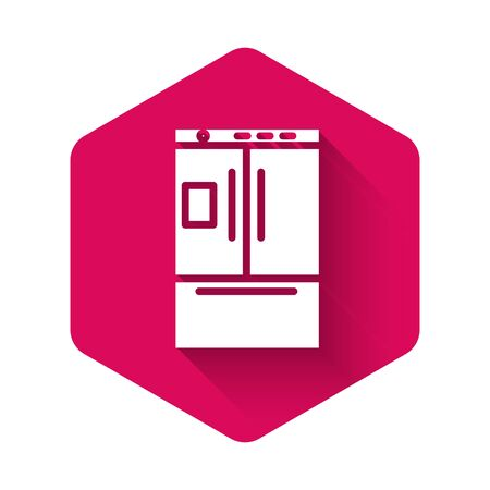 White Refrigerator icon isolated with long shadow. Fridge freezer refrigerator. Household tech and appliances. Pink hexagon button. Vector Illustration