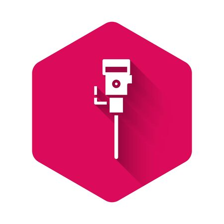 White Construction jackhammer icon isolated with long shadow. Pink hexagon button. Vector Illustration
