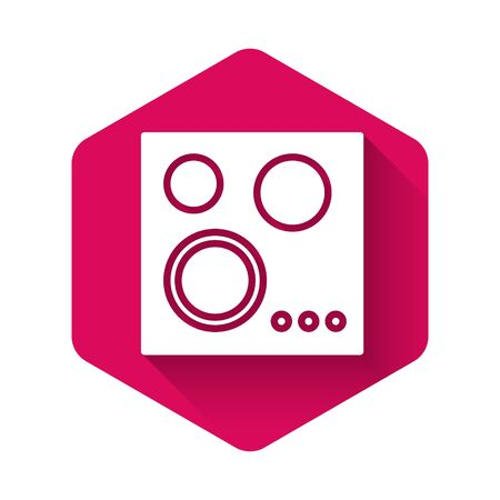 White Gas stove icon isolated with long shadow. Cooktop sign. Hob with four circle burners. Pink hexagon button. Vector Illustration Foto de archivo - 134369419