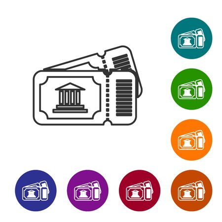 Grey line Museum ticket icon isolated on white background. History museum ticket coupon event admit exhibition excursion. Set icons in color circle buttons. Vector Illustration