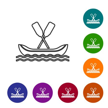 Grey line Rafting boat icon isolated on white background. Kayak with paddles. Water sports, extreme sports, holiday, vacation, team building. Set icons in color circle buttons. Vector Illustration Ilustração