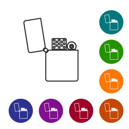 Grey line Lighter icon isolated on white background. Set icons in color circle buttons. Vector Illustration Standard-Bild - 134589517
