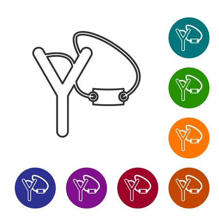 Grey line Slingshot icon isolated on white background. Set icons in color circle buttons. Vector Illustration Vectores