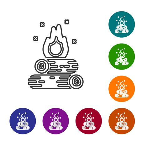 Grey line Campfire icon isolated on white background. Burning bonfire with wood. Set icons in color circle buttons. Vector Illustration
