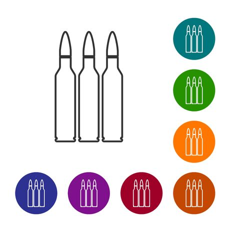 Grey line Bullet icon isolated on white background. Set icons in color circle buttons. Vector Illustration Illustration