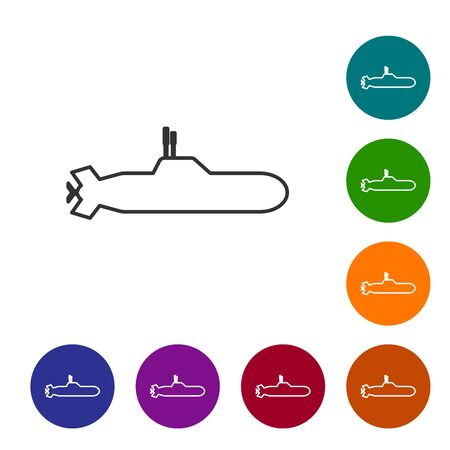 Grey line Submarine icon isolated on white background. Military ship. Set icons in color circle buttons. Vector Illustration