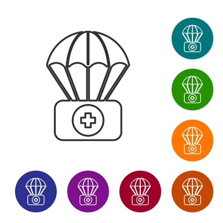 Grey line Parachute with first aid kit icon isolated on white background. Medical insurance. Set icons in color circle buttons. Vector Illustration Zdjęcie Seryjne - 134590254