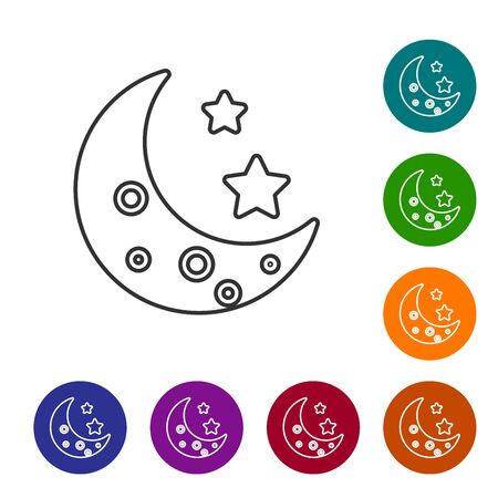 Grey line Moon and stars icon isolated on white background. Set icons in color circle buttons. Vector Illustration