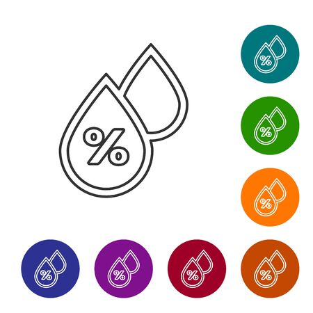 Grey line Water drop percentage icon isolated on white background. Humidity analysis. Set icons in color circle buttons. Vector Illustration