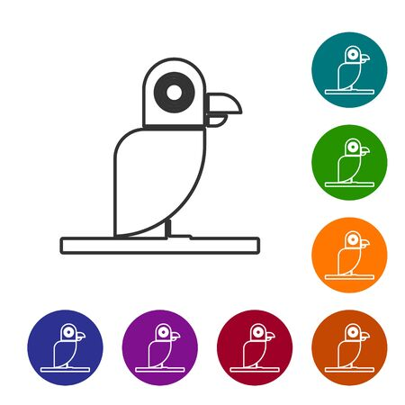 Grey line Pirate parrot icon isolated on white background. Set icons in color circle buttons. Vector Illustration