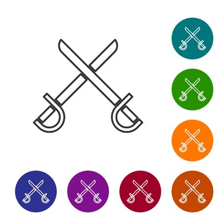 Grey line Crossed pirate swords icon isolated on white background. Sabre sign. Set icons in color circle buttons. Vector Illustration