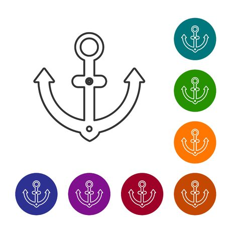 Grey line Anchor icon isolated on white background. Set icons in color circle buttons. Vector Illustration