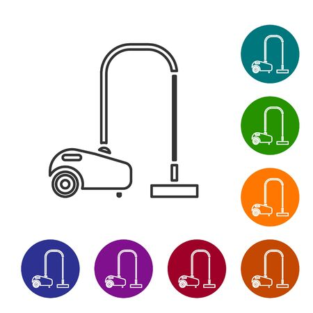 Grey line Vacuum cleaner icon isolated on white background. Set icons in color circle buttons. Vector Illustration