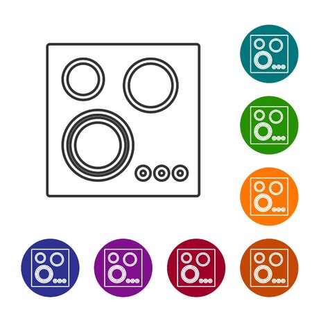 Grey line Gas stove icon isolated on white background. Cooktop sign. Hob with four circle burners. Set icons in color circle buttons. Vector Illustration Foto de archivo - 134592246