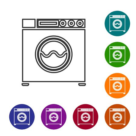 Grey line Washer icon isolated on white background. Washing machine icon. Clothes washer - laundry machine. Home appliance symbol. Set icons in color circle buttons. Vector Illustration