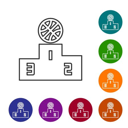 Grey line Basketball over sports winner podium icon isolated on white background. Set icons in color circle buttons. Vector Illustration