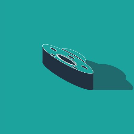 Isometric UFO flying spaceship icon isolated on green background. Flying saucer. Alien space ship. Futuristic unknown flying object. Vector Illustration