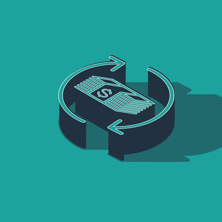 Isometric Refund money icon isolated on green background. Financial services, cash back concept, money refund, return on investment, savings account. Vector Illustration Иллюстрация