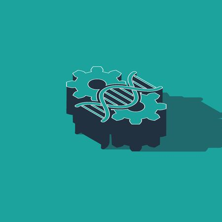 Isometric Gene editing icon isolated on green background. Genetic engineering. DNA researching, research. Vector Illustration