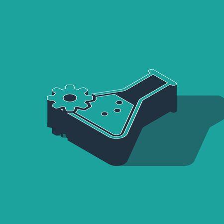 Isometric Bioengineering icon isolated on green background. Element of genetics and bioengineering icon. Biology, molecule, chemical icon. Vector Illustration Illustration