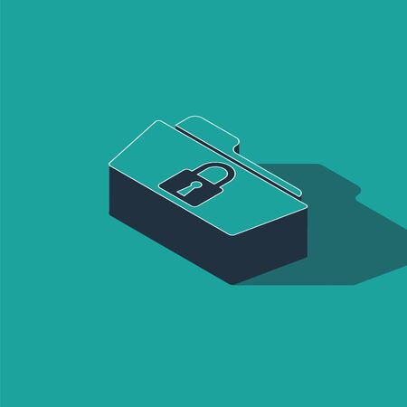Isometric Folder and lock icon isolated on green background. Closed folder and padlock. Security, safety, protection concept. Vector Illustration