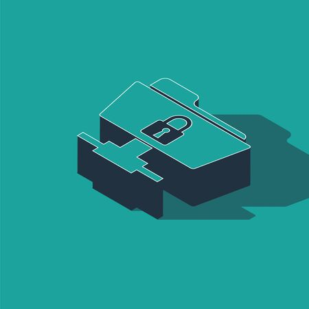 Isometric FTP folder and lock icon isolated on green background. Concept of software update, ftp transfer protocol. Security, safety, protection concept. Vector Illustration