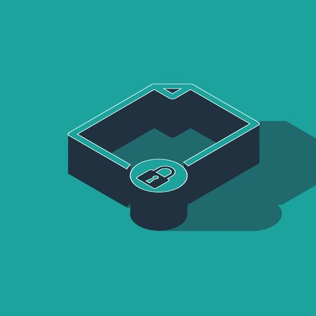 Isometric Document and lock icon isolated on green background. File format and padlock. Security, safety, protection concept. Vector Illustration Illusztráció