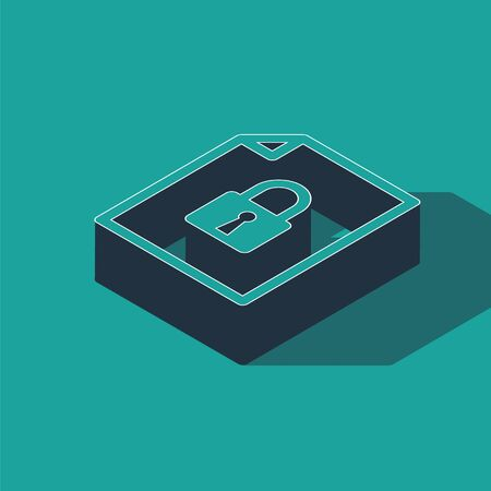 Isometric Document and lock icon isolated on green background. File format and padlock. Security, safety, protection concept. Vector Illustration Stock fotó - 134362278