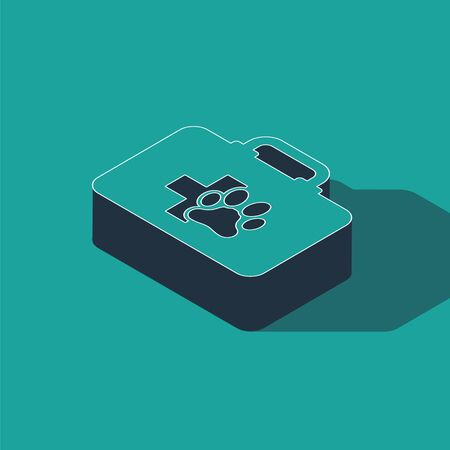 Isometric Pet first aid kit icon isolated on green background. Dog or cat paw print. Clinic box. Vector Illustration Zdjęcie Seryjne - 134362302
