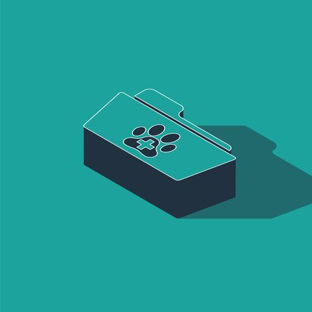 Isometric Medical veterinary record folder icon isolated on green background. Dog or cat paw print. Document for pet. Patient file icon. Vector Illustration
