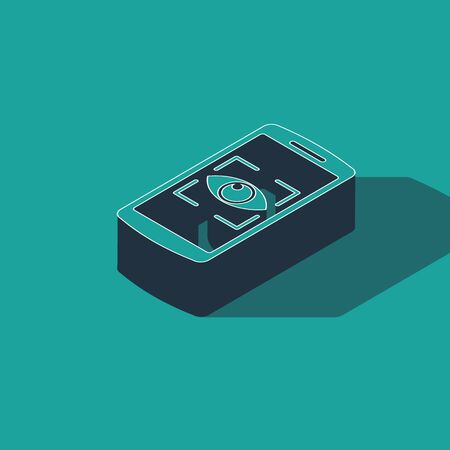 Isometric Mobile phone and eye scan icon isolated on green background. Scanning eye. Security check symbol. Cyber eye sign. Vector Illustration