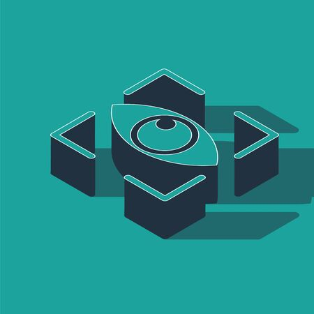Isometric Eye scan icon isolated on green background. Scanning eye. Security check symbol. Cyber eye sign. Vector Illustration
