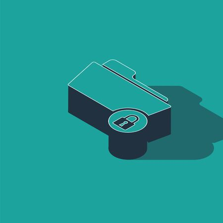 Isometric Folder and lock icon isolated on green background. Closed folder and padlock. Security, safety, protection concept. Vector Illustration Stock fotó - 134363115